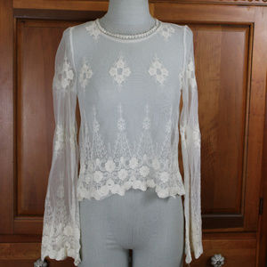 NWT F21 Sheer Floral Cream Top with Bell Sleeves